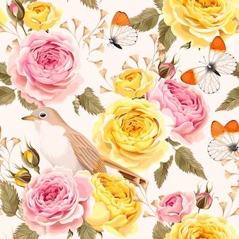 Бесшовный узор вектор с воробьями и розой