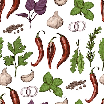 Vector seamless pattern with spices and herbs