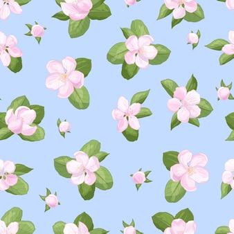 パッケージ、カバー、ポストカード、本、テキスタイルに印刷するための、青い背景に緑の葉と春のピンクの繊細なリンゴの花とシームレスなパターンをベクトルします。