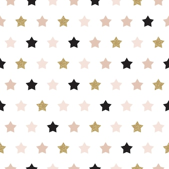 Vector seamless pattern with stars of rose, gold, and black. shiny sparkling background with glitter