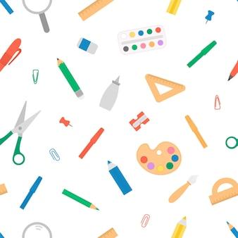 Бесшовный узор вектор с канцелярскими товарами и школой, искусством или канцелярскими принадлежностями