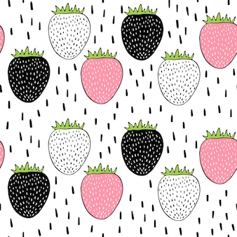 Vector seamless pattern with strawberries.