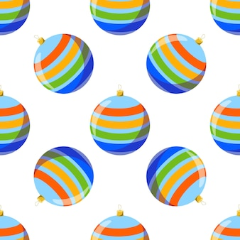 Vector seamless pattern with a striped ball christmas tree toy on a white background.