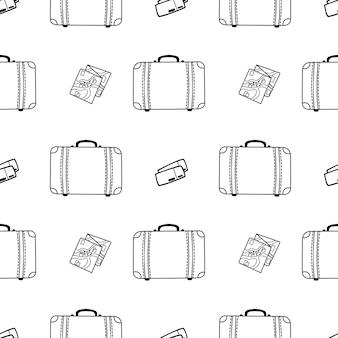 スーツケースカードとチケット落書きスタイルのベクトルシームレスパターン