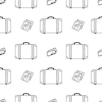 Vector seamless pattern with suitcase card and tickets doodle style