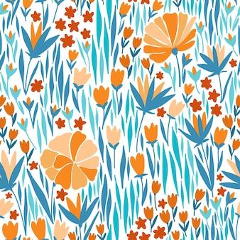 여름 꽃 벡터 완벽 한 패턴입니다. 패턴 채우기, 표면 질감, 웹 페이지 배경, 섬유 등을 위해 벽걸이 또는 포스터의 바탕 화면 또는 프레임에 사용할 수 있습니다.