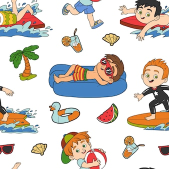 Vector seamless pattern with summer holiday, set of boys on white background