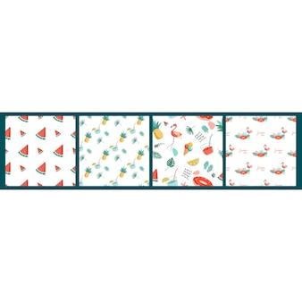 Бесшовный узор вектор с летними предметами на белом фоне