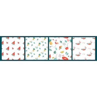 Vector seamless pattern with summer items on a white background