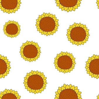 흰색 배경에 해바라기와 벡터 원활한 패턴 여름 패턴 꽃 그림