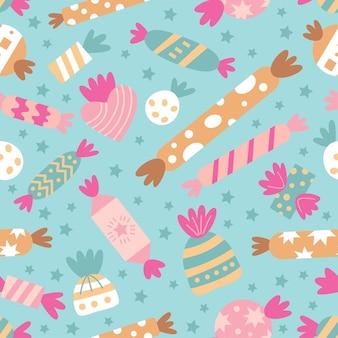 Бесшовный узор вектор со сладкими конфетами и печеньем
