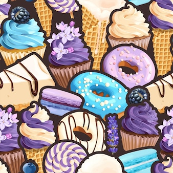 Vector seamless pattern with sweets