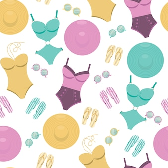 Vector seamless pattern with swimming suits, sunglasses, flip flops and hats.