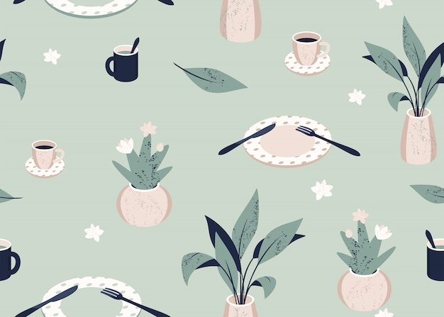 Vector seamless pattern with tableware and plants