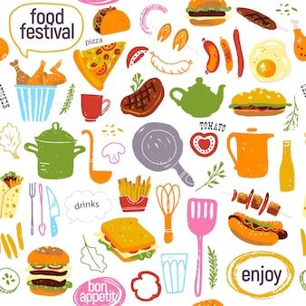 맛있는 거리 음식 축제 일러스트와 함께 벡터 원활한 패턴