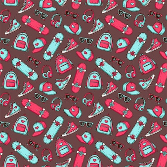 Vector seamless pattern with teenage things