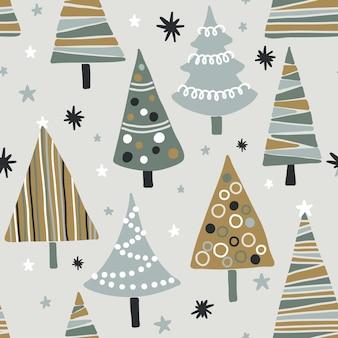 질감된 크리스마스 나무와 벡터 완벽 한 패턴입니다. 현대적이고 독창적인 축제 직물, 선물 포장, 벽 예술 디자인.
