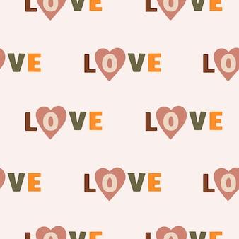 パステルカラーの背景に愛と心という言葉でシームレスなパターンをベクトルします。