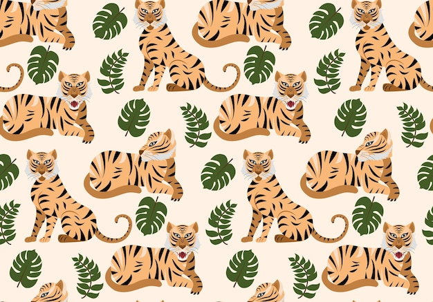 Vector seamless pattern with tigers and tropical plants.
