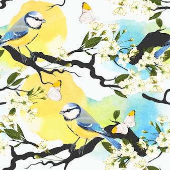 수채화 배경에 tomtits와 벚꽃 가지와 벡터 원활한 패턴