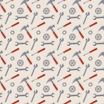 수리 및 건설을 위한 도구가 있는 벡터 매끄러운 패턴입니다.