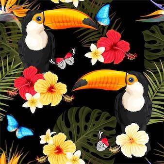 Бесшовный узор вектор с туканами и тропическими цветами