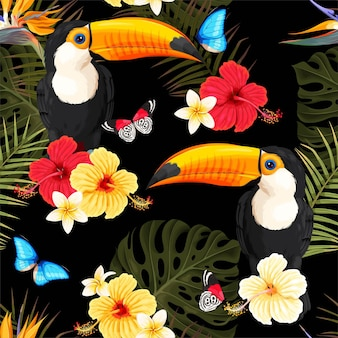 Vector seamless pattern with toucans and tropical flowers