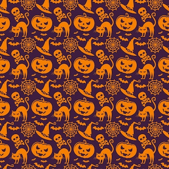 Vector seamless pattern with traditional symbols of halloween.