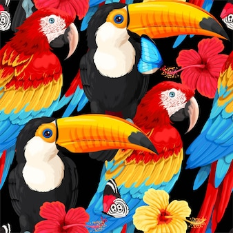 Vector seamless pattern with tropical birds and flower
