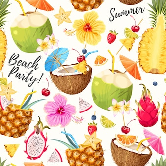 Vector seamless pattern with tropical cocktails