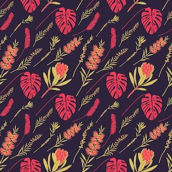 어두운 배경에 열대 꽃과 잎이 있는 벡터 원활한 패턴