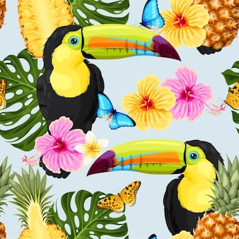 Vector seamless pattern with tropical flowers and toucan