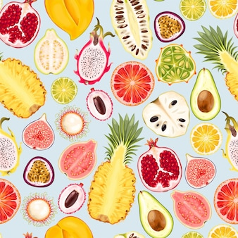 トロピカルフルーツのスライスとシームレスなパターンをベクトルします。
