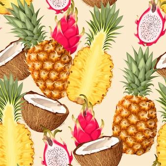 Бесшовный узор вектор с тропическими фруктами