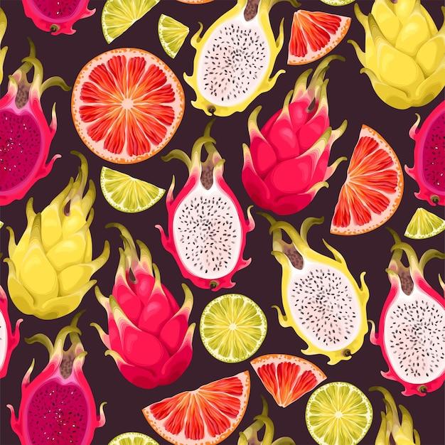 トロピカルフルーツとシームレスなパターンをベクトルします。