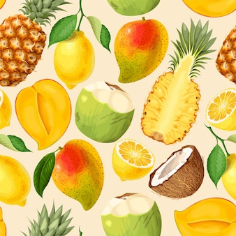 Vector seamless pattern with tropical fruits