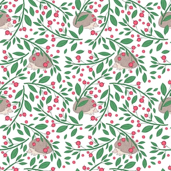Vector seamless pattern with twigs with berries and hedgehog on a white background