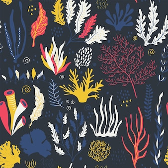 Vector seamless pattern with underwater ocean coral reef plants corals and anemones