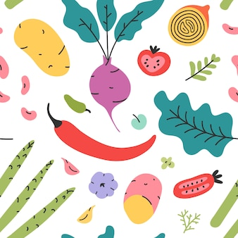 Vector seamless pattern with various hand drawn vegetables and leaves