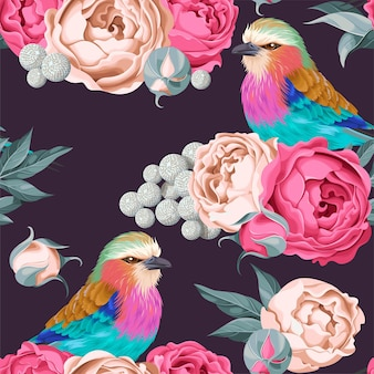 빈티지 꽃과 새 벡터 원활한 패턴