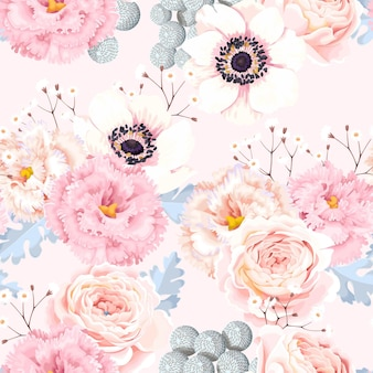 Vector seamless pattern with vintage flowers