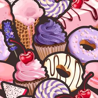 紫とピンクのお菓子とシームレスなパターンをベクトルします。