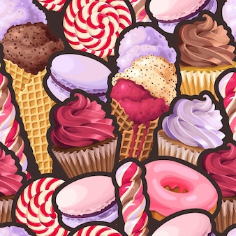 Vector seamless pattern with violet and pink sweets