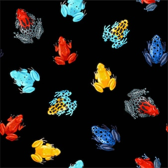 Vector seamless pattern with vivid tropical frogs on black background