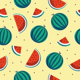 スイカ、スイカのスライスと種子でシームレスなパターンをベクトルします。夏の果物の背景