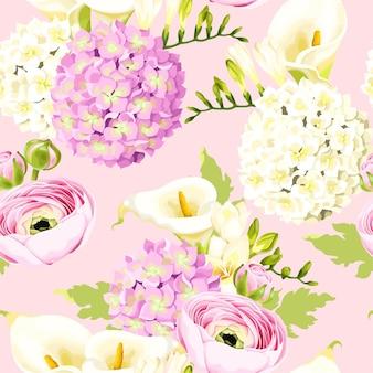 흰색과 분홍색 꽃 벡터 원활한 패턴