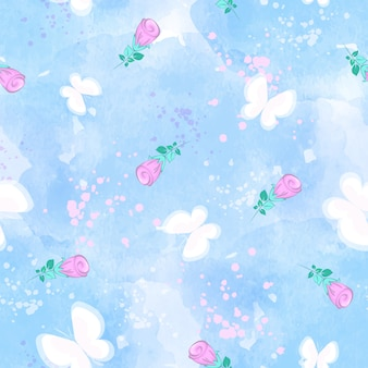 Vector seamless pattern with white butterflies and rosebuds on a blue watercolor background.
