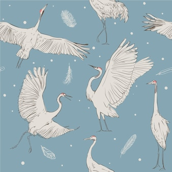 Vector seamless pattern with white cranes on blue background