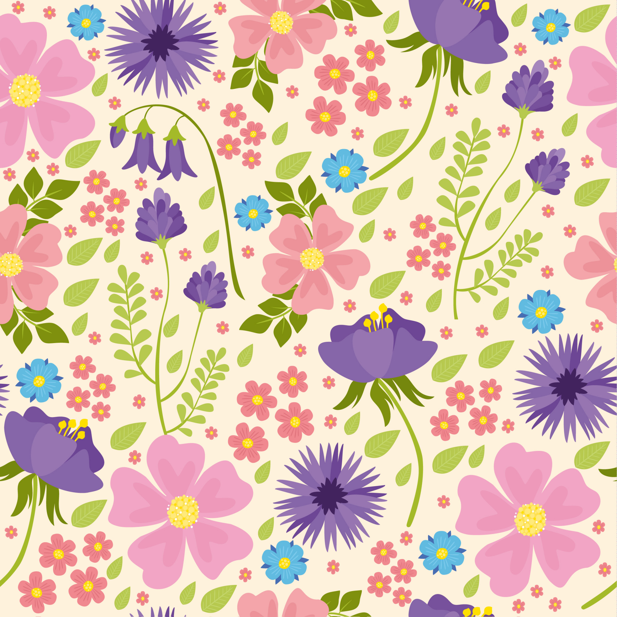 Vector seamless pattern with wildflowers, pink and purple flowers