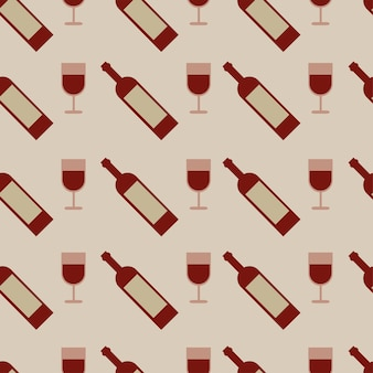 Vector seamless pattern with wine glasses and bottle - vector